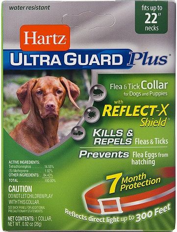 Reflective Orange Flea & Tick Collar for Dogs and Puppies